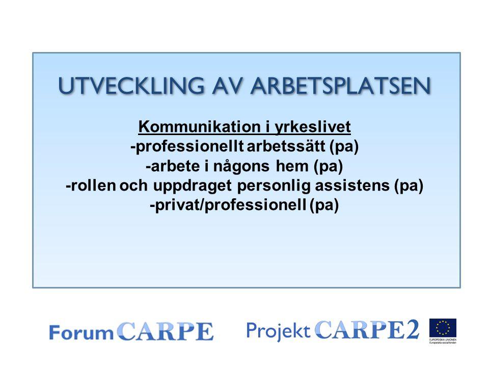 Projekt UTVECKLING AV ARBETSPLATSEN Kommunikation i yrkeslivet -professionellt arbetssätt (pa) -arbete i någons hem (pa) -rollen och uppdraget personl