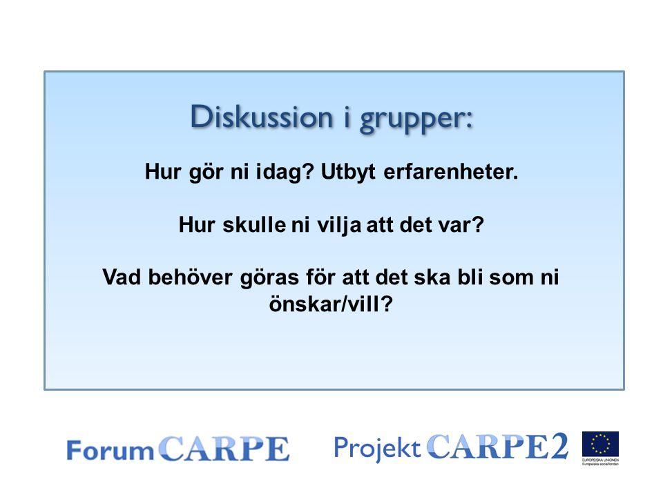 Projekt Diskussion i grupper: Hur gör ni idag? Utbyt erfarenheter. Hur skulle ni vilja att det var? Vad behöver göras för att det ska bli som ni önska