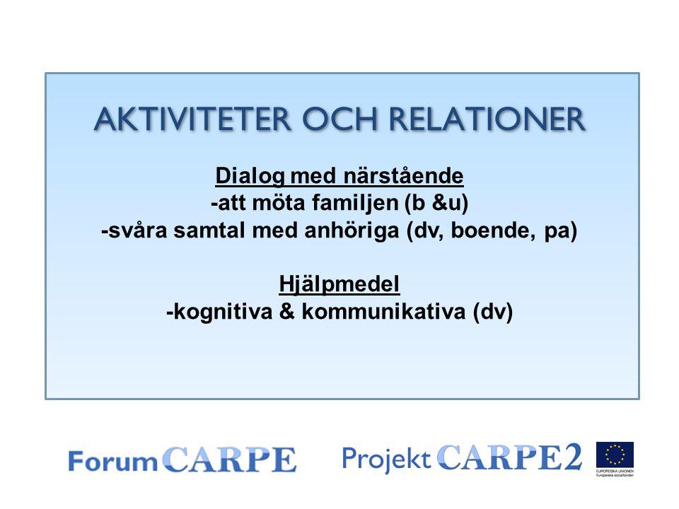 Projekt AKTIVITETER OCH RELATIONER Dialog med närstående -att möta familjen (b &u) -svåra samtal med anhöriga (dv, boende, pa) Hjälpmedel -kognitiva &