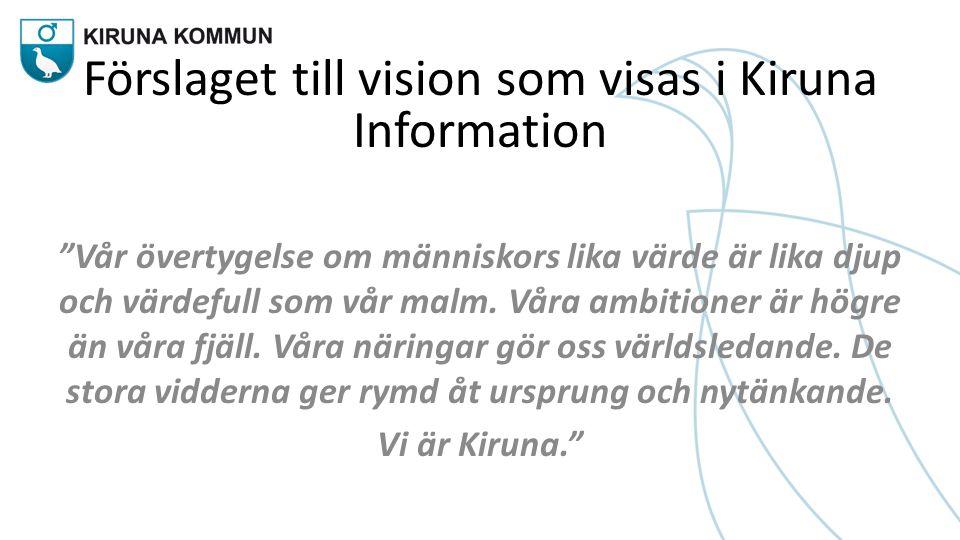 """Förslaget till vision som visas i Kiruna Information """"Vår övertygelse om människors lika värde är lika djup och värdefull som vår malm. Våra ambitione"""