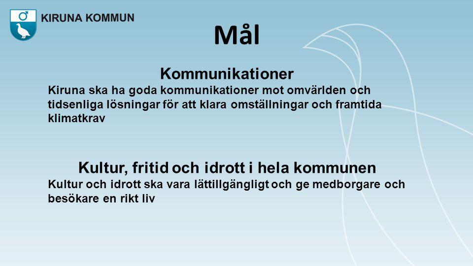 Mål Kommunikationer Kiruna ska ha goda kommunikationer mot omvärlden och tidsenliga lösningar för att klara omställningar och framtida klimatkrav Kultur, fritid och idrott i hela kommunen Kultur och idrott ska vara lättillgängligt och ge medborgare och besökare en rikt liv