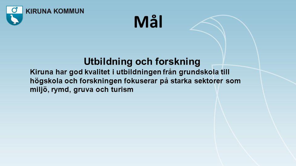 Mål Utbildning och forskning Kiruna har god kvalitet i utbildningen från grundskola till högskola och forskningen fokuserar på starka sektorer som miljö, rymd, gruva och turism