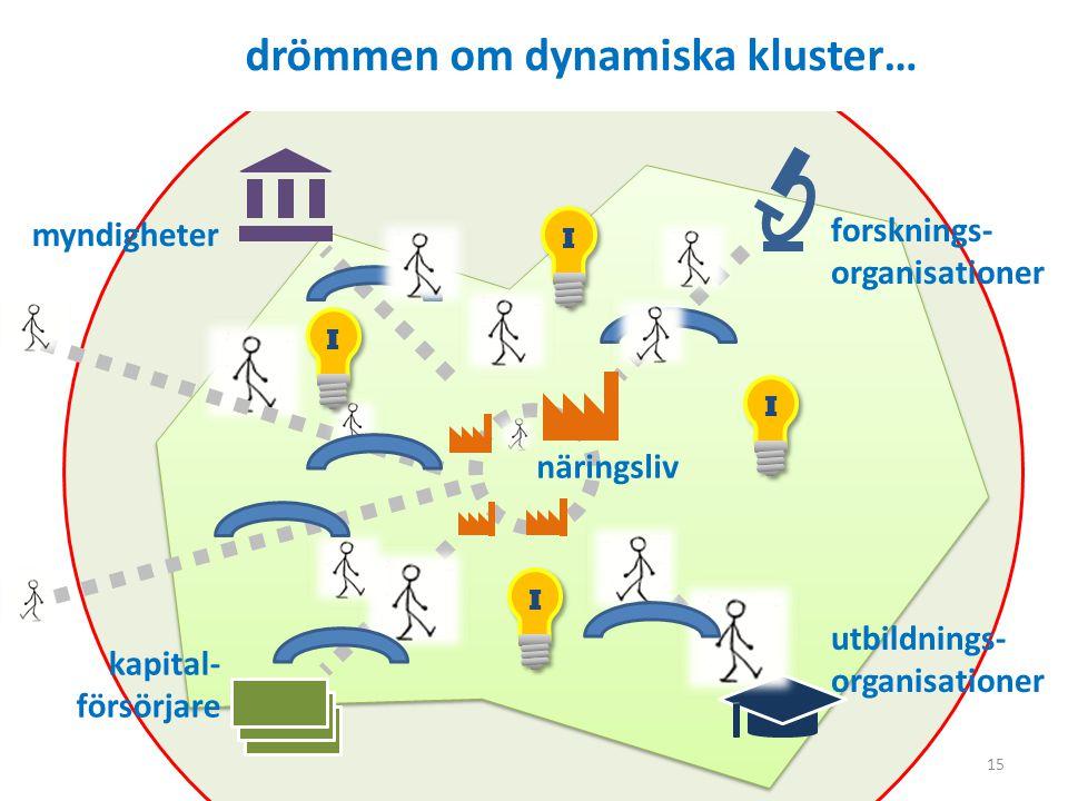 15 drömmen om dynamiska kluster… myndigheter forsknings- organisationer utbildnings- organisationer kapital- försörjare näringsliv