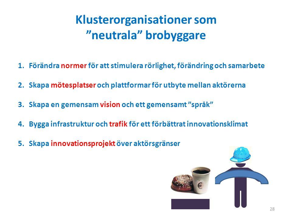 28 Klusterorganisationer som neutrala brobyggare 1.Förändra normer för att stimulera rörlighet, förändring och samarbete 2.Skapa mötesplatser och plattformar för utbyte mellan aktörerna 3.Skapa en gemensam vision och ett gemensamt språk 4.Bygga infrastruktur och trafik för ett förbättrat innovationsklimat 5.Skapa innovationsprojekt över aktörsgränser