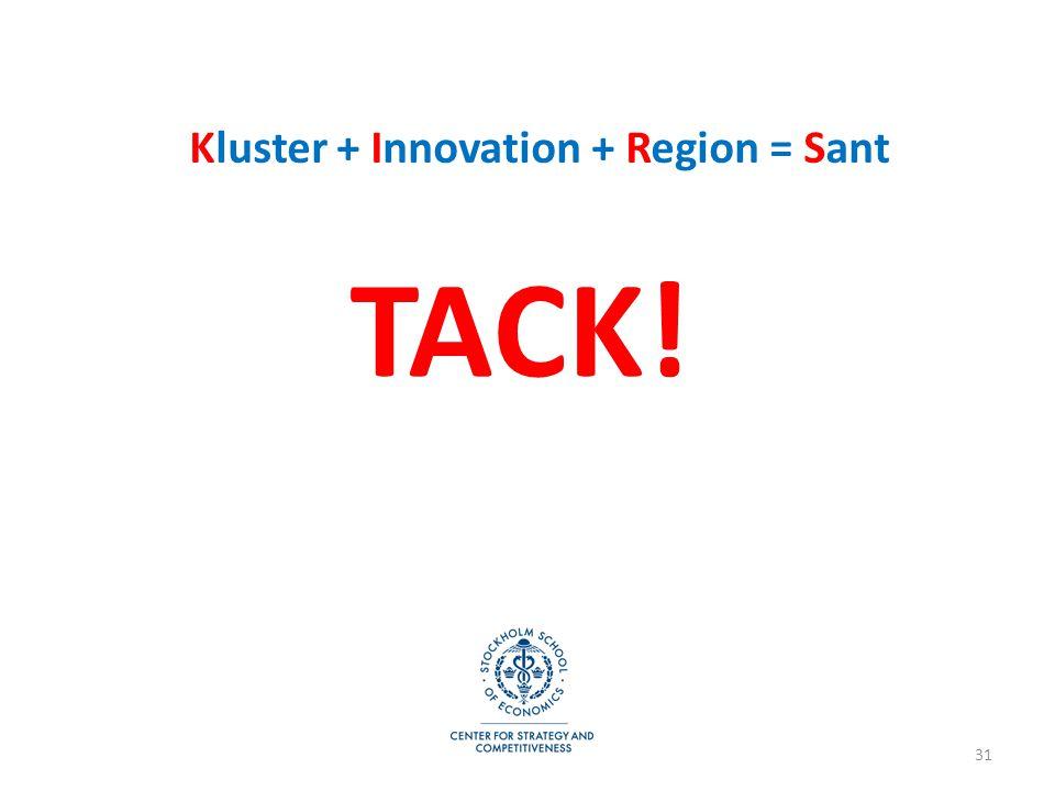 31 TACK! Kluster + Innovation + Region = Sant
