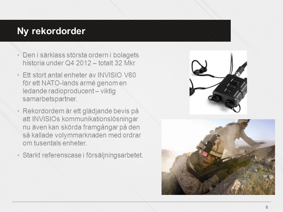 Ny rekordorder •Den i särklass största ordern i bolagets historia under Q4 2012 – totalt 32 Mkr •Ett stort antal enheter av INVISIO V60 för ett NATO-l