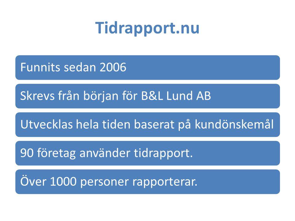 Tidrapport.nu Funnits sedan 2006Skrevs från början för B&L Lund ABUtvecklas hela tiden baserat på kundönskemål90 företag använder tidrapport.Över 1000