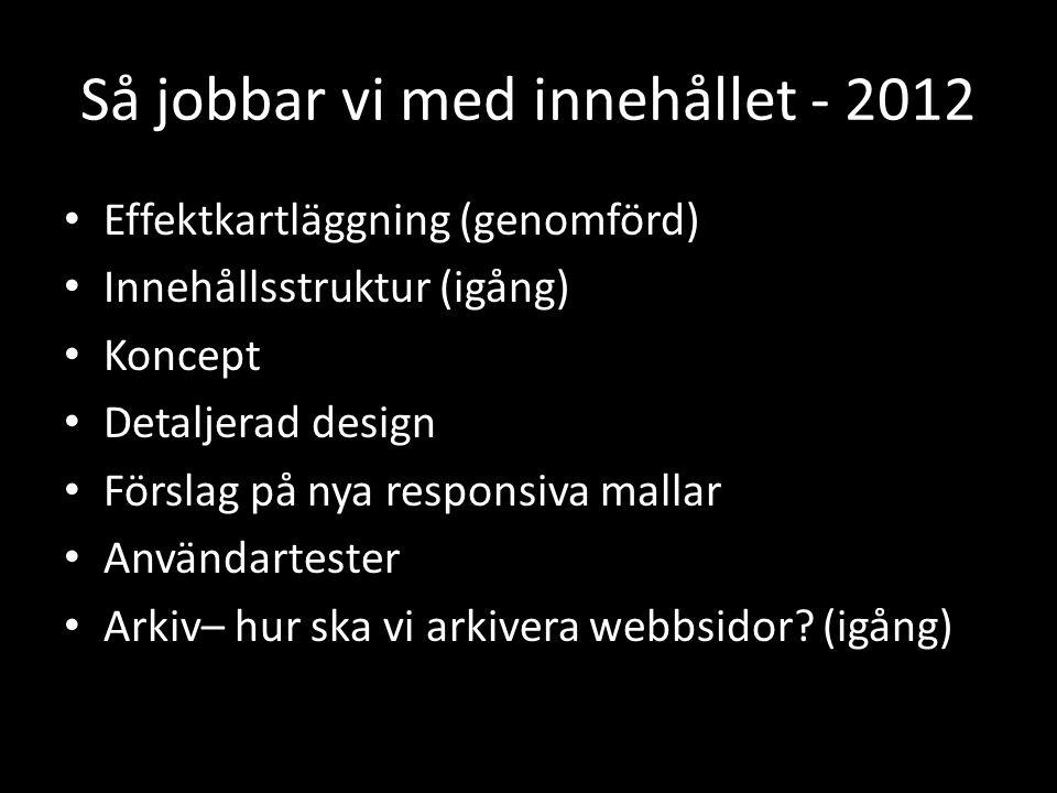 Så jobbar vi med innehållet - 2012 • Effektkartläggning (genomförd) • Innehållsstruktur (igång) • Koncept • Detaljerad design • Förslag på nya responsiva mallar • Användartester • Arkiv– hur ska vi arkivera webbsidor.