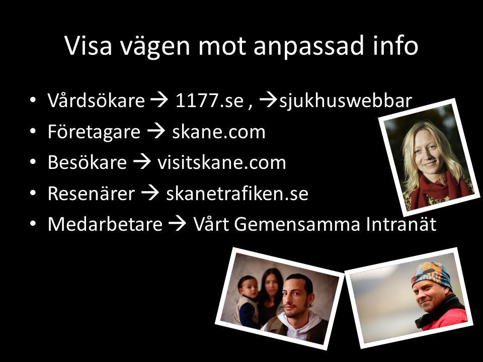 Visa vägen mot anpassad info • Vårdsökare  1177.se,  sjukhuswebbar • Företagare  skane.com • Besökare  visitskane.com • Resenärer  skanetrafiken.se • Medarbetare  Vårt Gemensamma Intranät