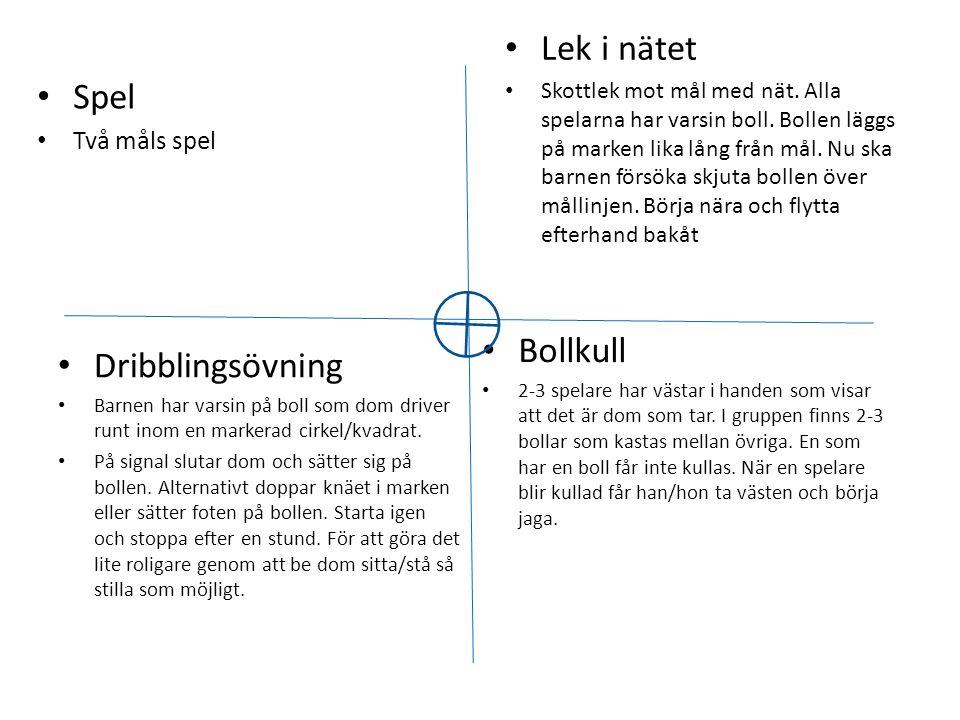 • Dribblingsövning • Barnen har varsin på boll som dom driver runt inom en markerad cirkel/kvadrat. • På signal slutar dom och sätter sig på bollen. A
