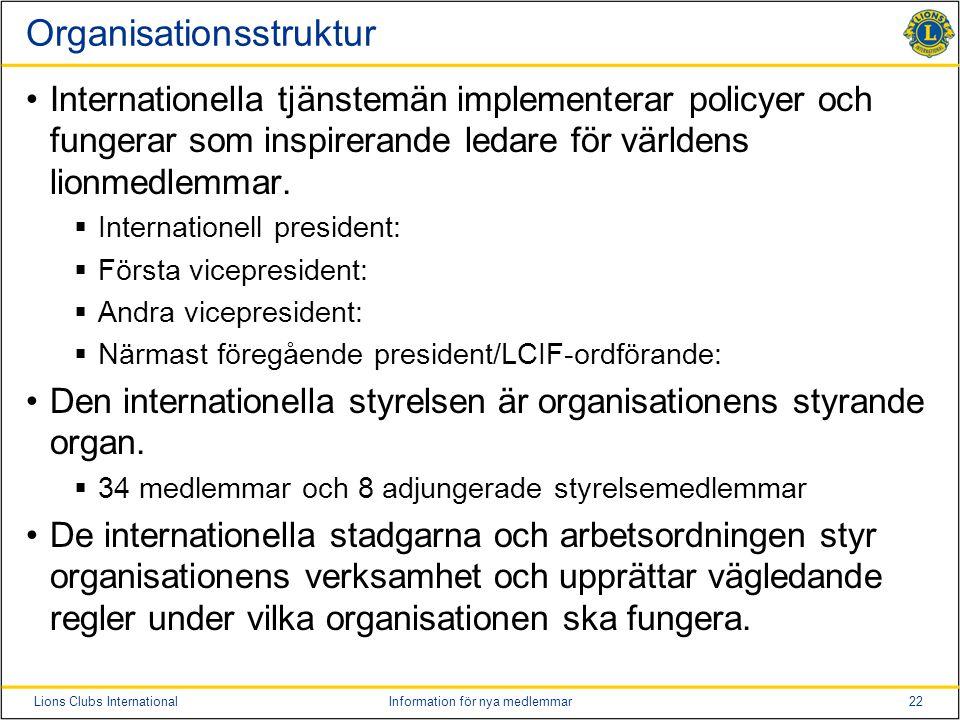 22Lions Clubs InternationalInformation för nya medlemmar Organisationsstruktur •Internationella tjänstemän implementerar policyer och fungerar som ins