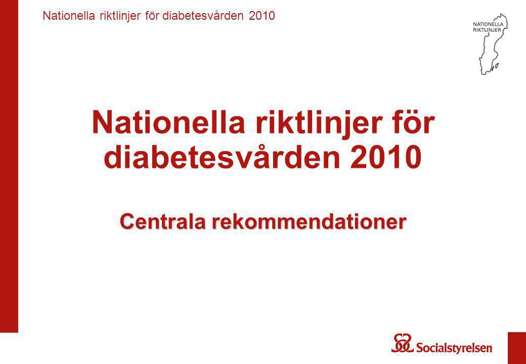 Nationella riktlinjer för diabetesvården 2010 Screening, prevention och levnadsvanor Screening för diabetes vid ökad risk för typ 2-diabetes Hälso- och sjukvården bör •genomföra opportunistisk screening för diabetes hos individer som löper ökad risk för att utveckla typ 2- diabetes, främst med målet att erbjuda livsstilsbehandling (prioritet 3).