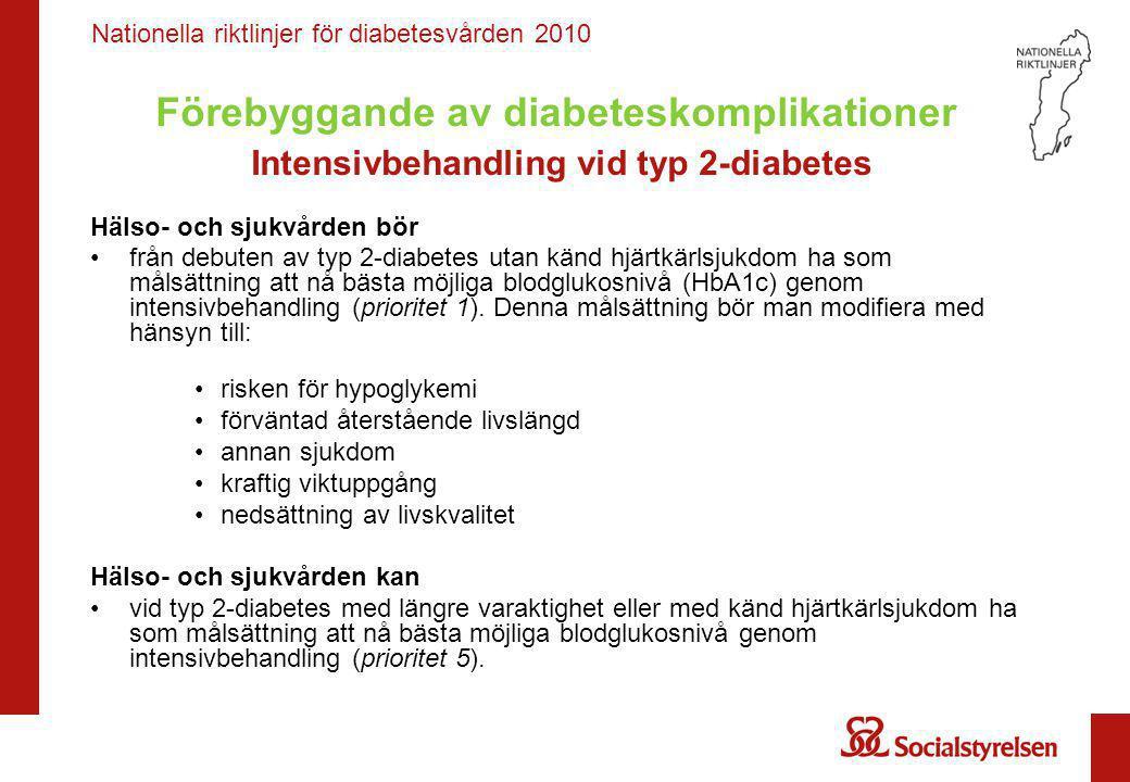 Nationella riktlinjer för diabetesvården 2010 Förebyggande av diabeteskomplikationer Intensivbehandling vid typ 2-diabetes Hälso- och sjukvården bör •