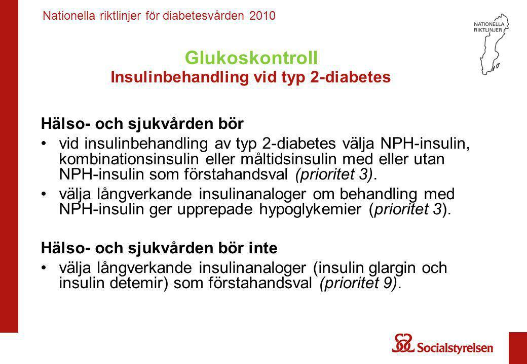 Nationella riktlinjer för diabetesvården 2010 Glukoskontroll Insulinbehandling vid typ 2-diabetes Hälso- och sjukvården bör •vid insulinbehandling av