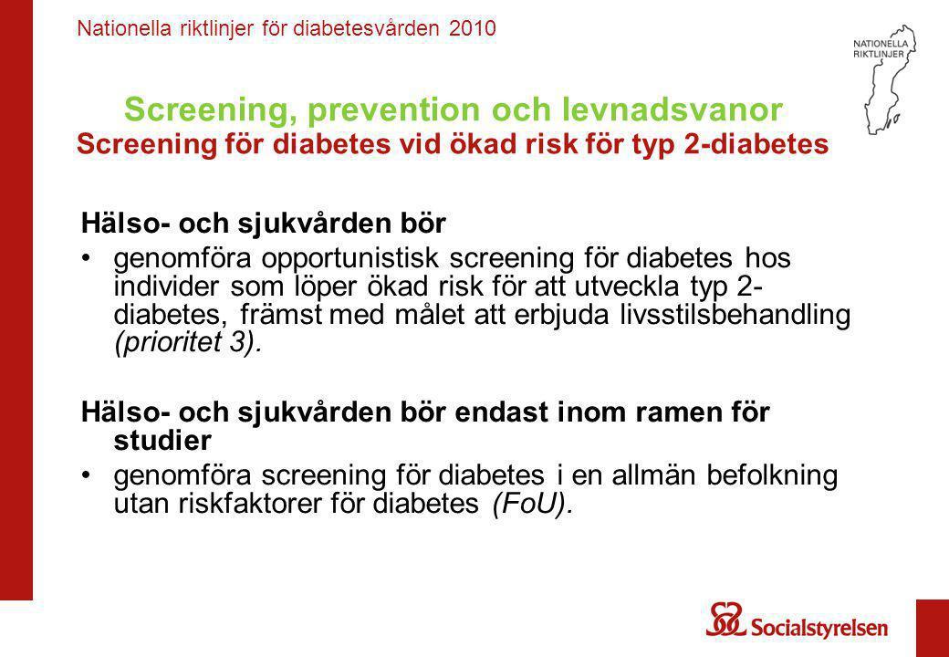 Nationella riktlinjer för diabetesvården 2010 Screening, prevention och levnadsvanor Personer med ökad risk för typ 2-diabetes: strukturerade program för intensiv påverkan på levnadsvanor Hälso- och sjukvården bör •erbjuda strukturerade program för intensiv påverkan på levnadsvanor till individer som löper ökad risk för att utveckla typ 2-diabetes och systematiskt följa upp vikt, blodglukos och riskfaktorer för hjärt-kärlsjukdom (prioritet 4).