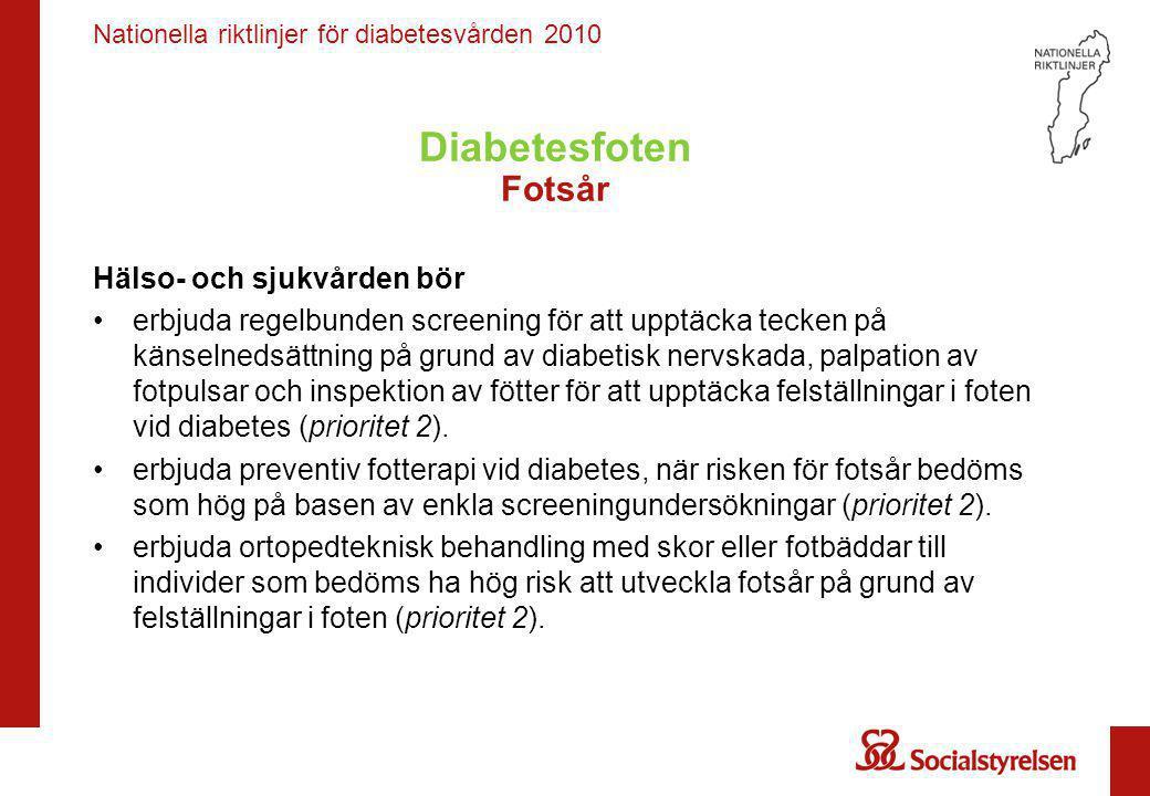Nationella riktlinjer för diabetesvården 2010 Diabetesfoten Fotsår Hälso- och sjukvården bör •erbjuda regelbunden screening för att upptäcka tecken på
