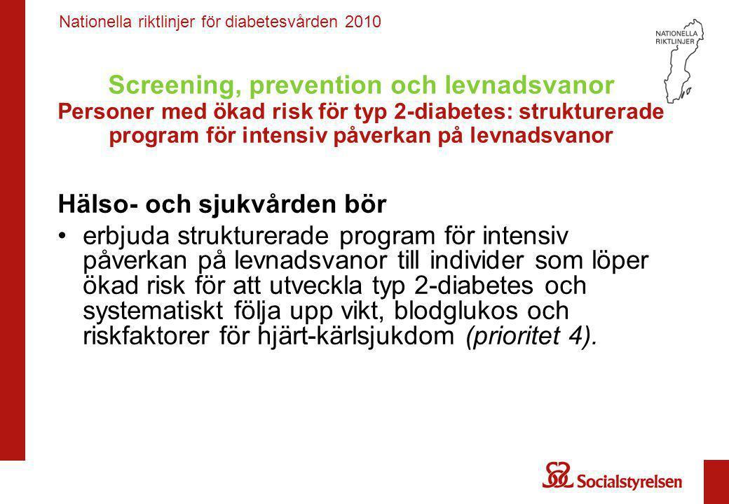 Nationella riktlinjer för diabetesvården 2010 Screening, prevention och levnadsvanor Graviditetsdiabetes – prevention av typ 2-diabetes Hälso- och sjukvården bör •efter genomgången graviditetsdiabetes ge allmän rådgivning om livsstilsbehandling och systematiskt följa upp vikt, blodglukos och riskfaktorer för hjärt-kärlsjukdom (prioritet 3).