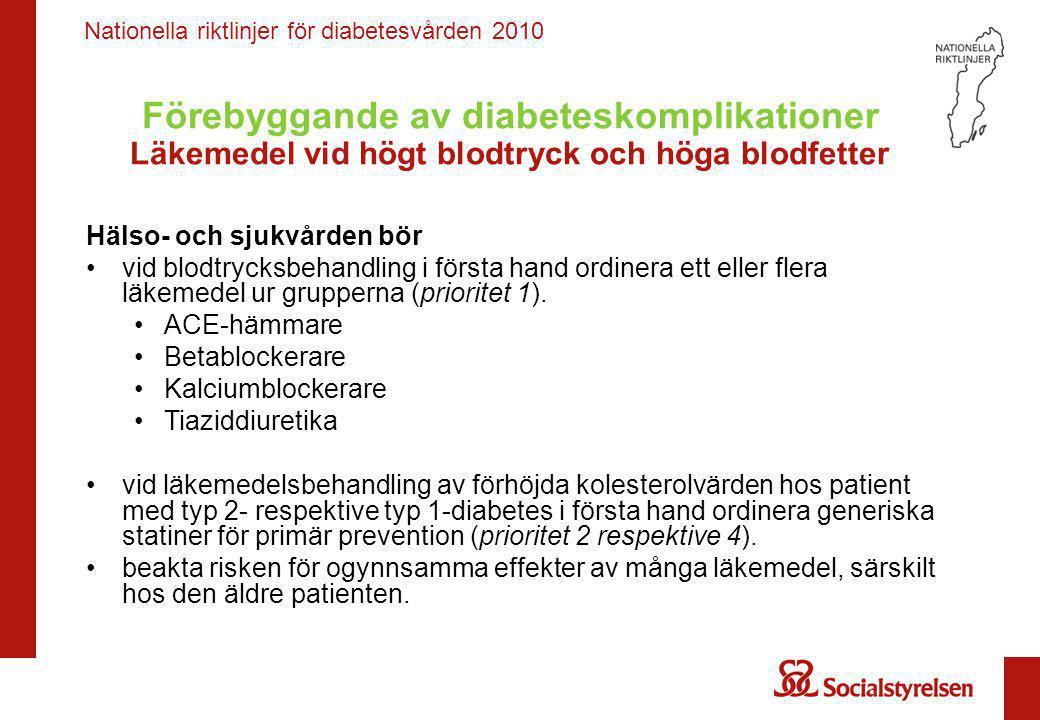 Nationella riktlinjer för diabetesvården 2010 Förebyggande av diabeteskomplikationer Läkemedel vid högt blodtryck och höga blodfetter Hälso- och sjukvården kan • använda ARB vid intolerans för ACE-hämmare men bör inte använda ARB som förstahandsläkemedel vid högt blodtryck (prioritet 10).