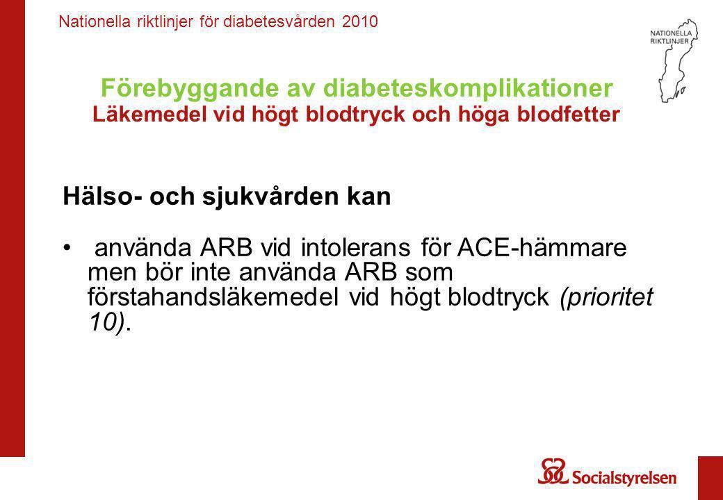 Nationella riktlinjer för diabetesvården 2010 Förebyggande av diabeteskomplikationer Läkemedel vid högt blodtryck och höga blodfetter Hälso- och sjukv