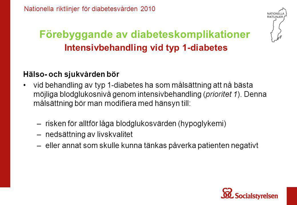 Nationella riktlinjer för diabetesvården 2010 Förebyggande av diabeteskomplikationer Intensivbehandling vid typ 1-diabetes Hälso- och sjukvården bör •