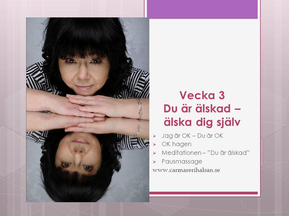 Vecka 3 Du är älskad – älska dig själv  Jag är OK – Du är OK  OK hagen  Meditationen – Du är älskad  Pausmassage www.carmarerihalsan.se