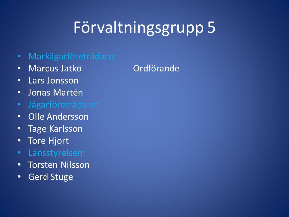 Förvaltningsgrupp 5 • Markägarföreträdare: • Marcus JatkoOrdförande • Lars Jonsson • Jonas Martén • Jägarföreträdare: • Olle Andersson • Tage Karlsson
