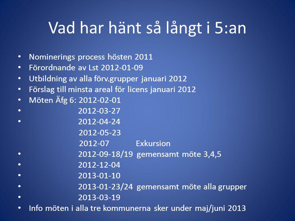Vad har hänt så långt i 5:an • Nominerings process hösten 2011 • Förordnande av Lst 2012-01-09 • Utbildning av alla förv.grupper januari 2012 • Försla