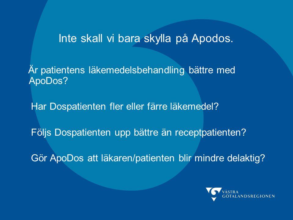 Inte skall vi bara skylla på Apodos. Är patientens läkemedelsbehandling bättre med ApoDos? Har Dospatienten fler eller färre läkemedel? Följs Dospatie