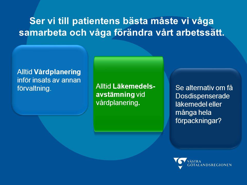 Ser vi till patientens bästa måste vi våga samarbeta och våga förändra vårt arbetssätt. Alltid Vårdplanering inför insats av annan förvaltning. Alltid