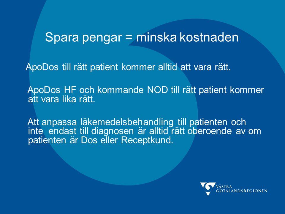 Spara pengar = minska kostnaden ApoDos till rätt patient kommer alltid att vara rätt. ApoDos HF och kommande NOD till rätt patient kommer att vara lik