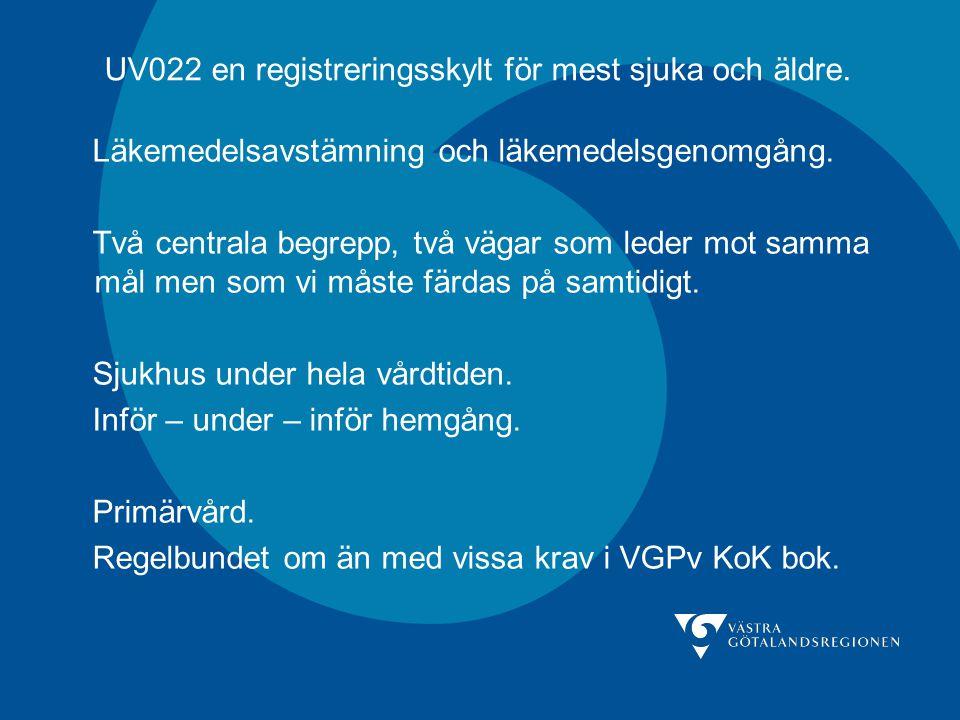UV022 en registreringsskylt för mest sjuka och äldre. Läkemedelsavstämning och läkemedelsgenomgång. Två centrala begrepp, två vägar som leder mot samm