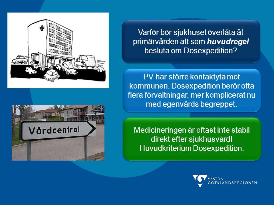 Varför bör sjukhuset överlåta åt primärvården att som huvudregel besluta om Dosexpedition? PV har större kontaktyta mot kommunen. Dosexpedition berör