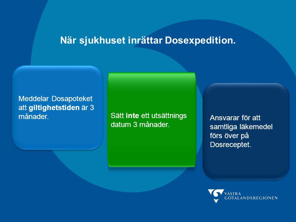 När sjukhuset inrättar Dosexpedition. Meddelar Dosapoteket att giltighetstiden är 3 månader. Sätt inte ett utsättnings datum 3 månader. Ansvarar för a