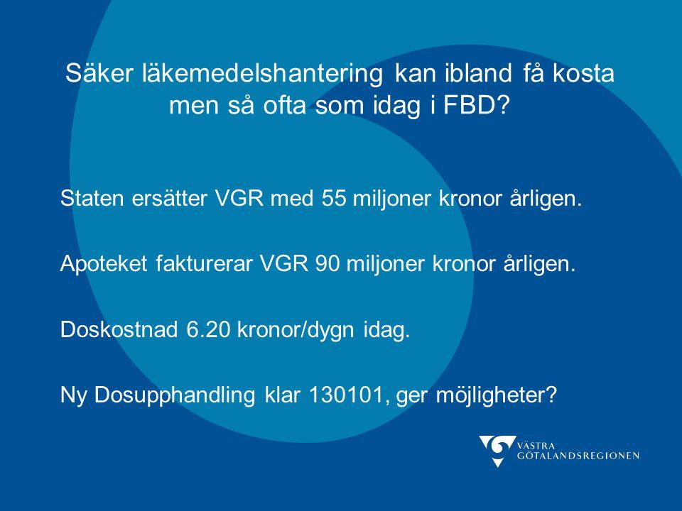 Säker läkemedelshantering kan ibland få kosta men så ofta som idag i FBD? Staten ersätter VGR med 55 miljoner kronor årligen. Apoteket fakturerar VGR
