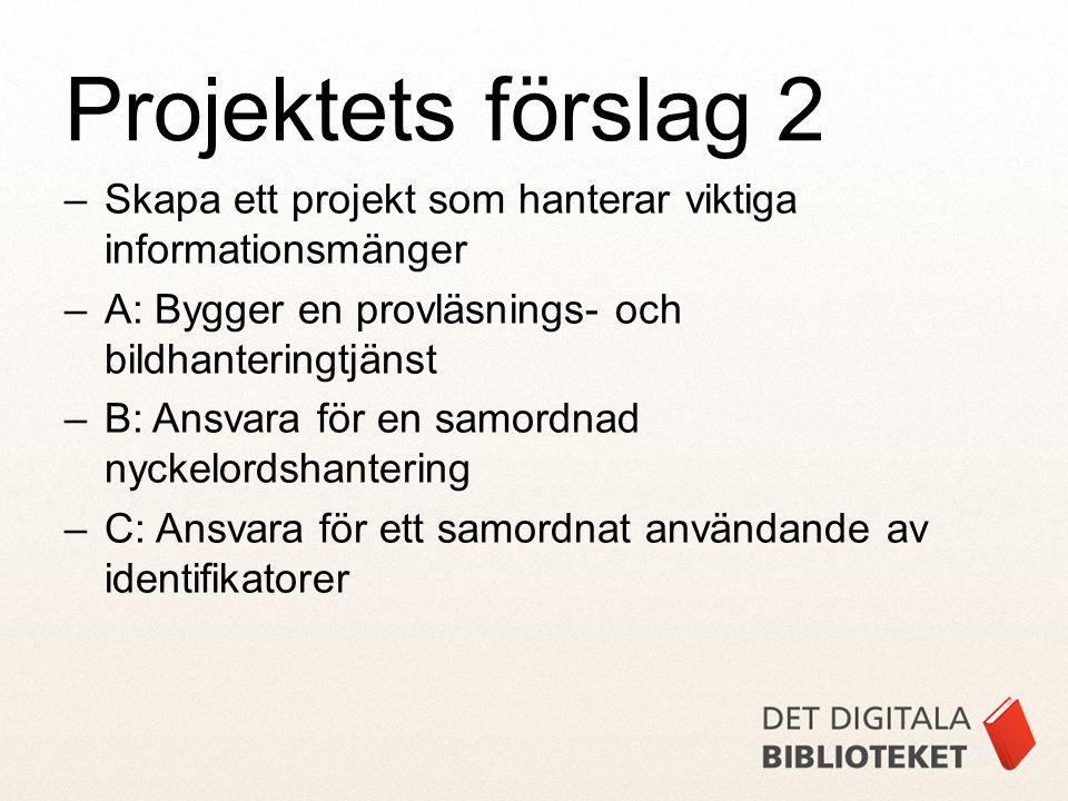 –Skapa ett projekt som hanterar viktiga informationsmänger –A: Bygger en provläsnings- och bildhanteringtjänst –B: Ansvara för en samordnad nyckelords