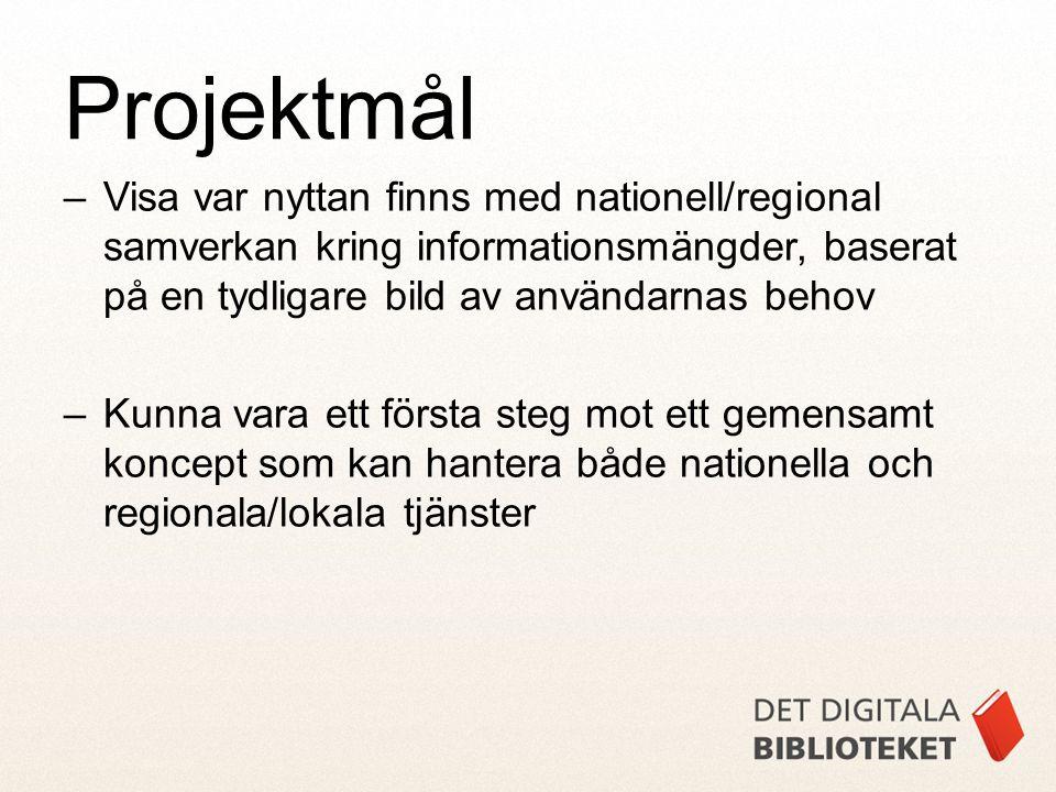 –Visa var nyttan finns med nationell/regional samverkan kring informationsmängder, baserat på en tydligare bild av användarnas behov –Kunna vara ett första steg mot ett gemensamt koncept som kan hantera både nationella och regionala/lokala tjänster Projektmål
