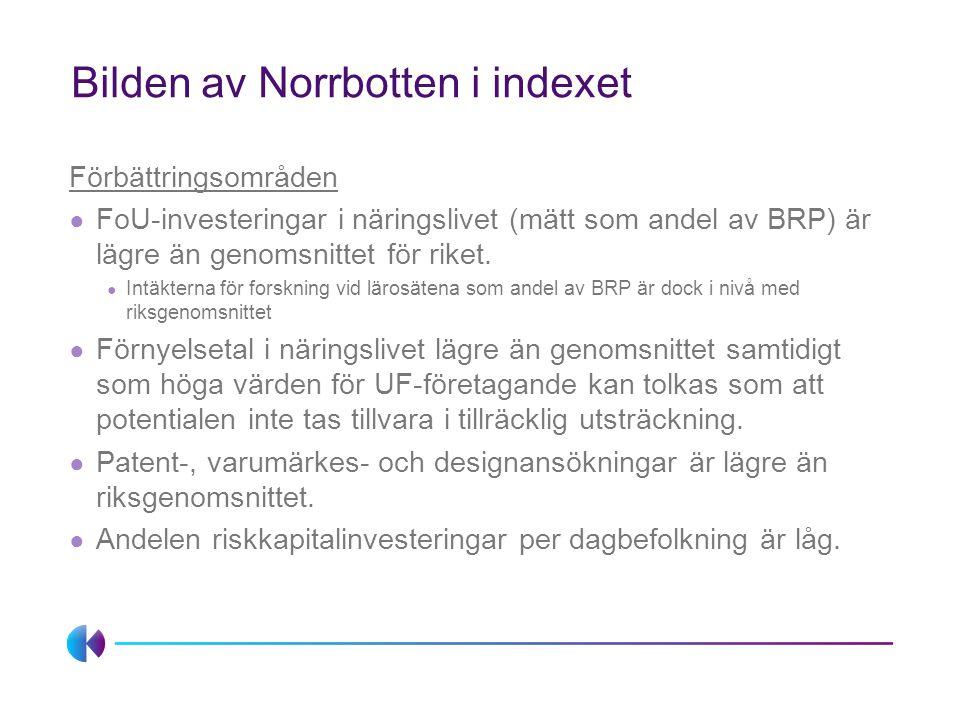 Bilden av Norrbotten i indexet Förbättringsområden ● FoU-investeringar i näringslivet (mätt som andel av BRP) är lägre än genomsnittet för riket.