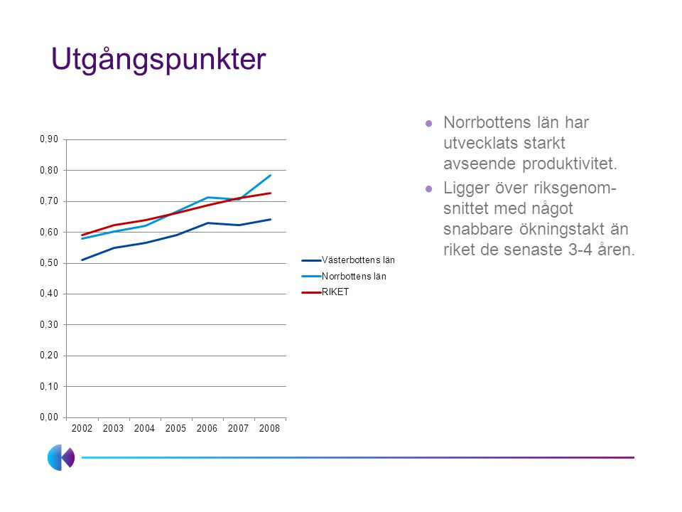 Utgångspunkter ● Norrbottens län har utvecklats starkt avseende produktivitet.