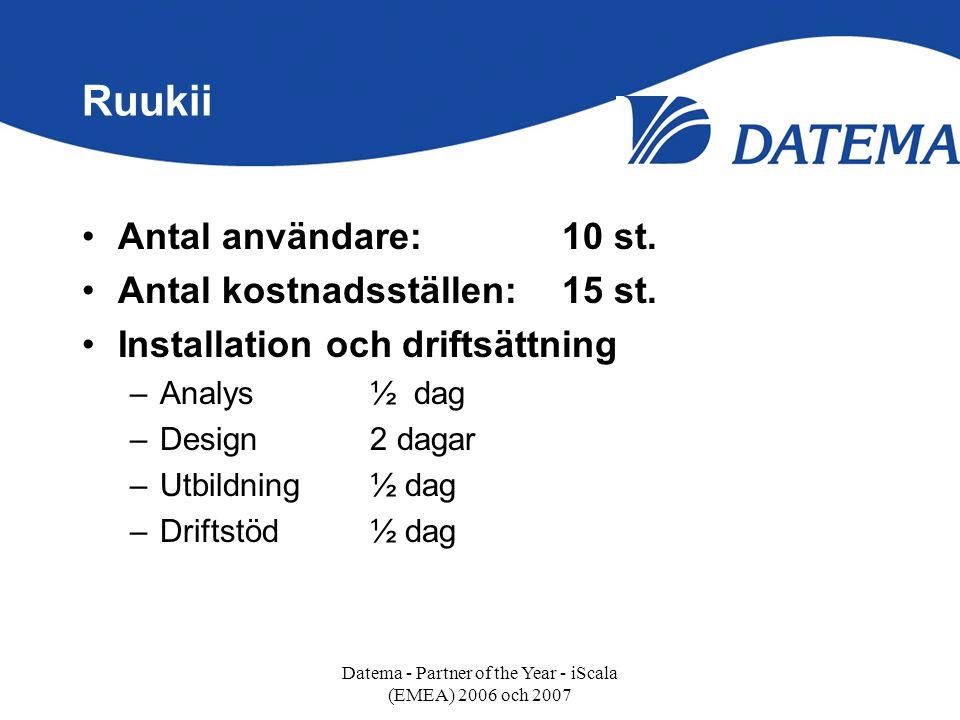 Ruukii •Antal användare:10 st. •Antal kostnadsställen:15 st. •Installation och driftsättning –Analys ½ dag –Design2 dagar –Utbildning½ dag –Driftstöd½