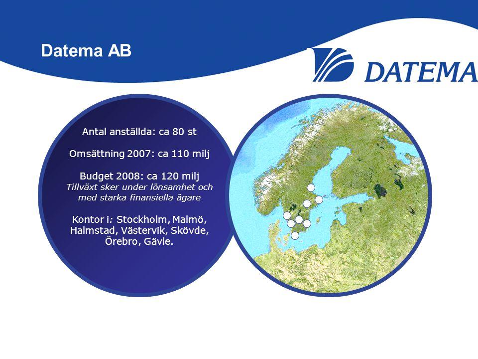 Datema AB Antal anställda: ca 80 st Omsättning 2007: ca 110 milj Budget 2008: ca 120 milj Tillväxt sker under lönsamhet och med starka finansiella äga