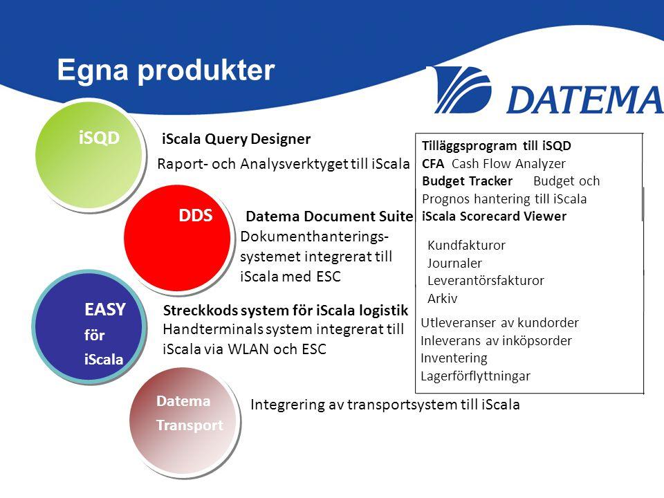 Egna produkter iSQD iScala Query Designer DDS Datema Document Suite EASY Streckkods system för iScala logistik för iScala Datema Transport Utleveranse