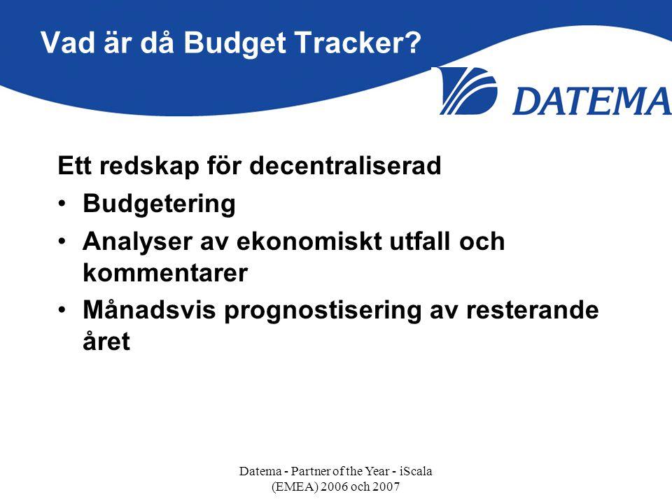 Vad är då Budget Tracker? Ett redskap för decentraliserad •Budgetering •Analyser av ekonomiskt utfall och kommentarer •Månadsvis prognostisering av re