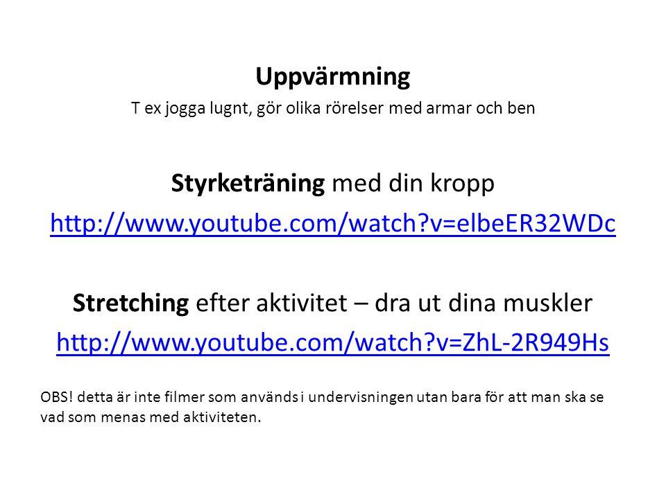 Uppvärmning T ex jogga lugnt, gör olika rörelser med armar och ben Styrketräning med din kropp http://www.youtube.com/watch?v=elbeER32WDc Stretching e