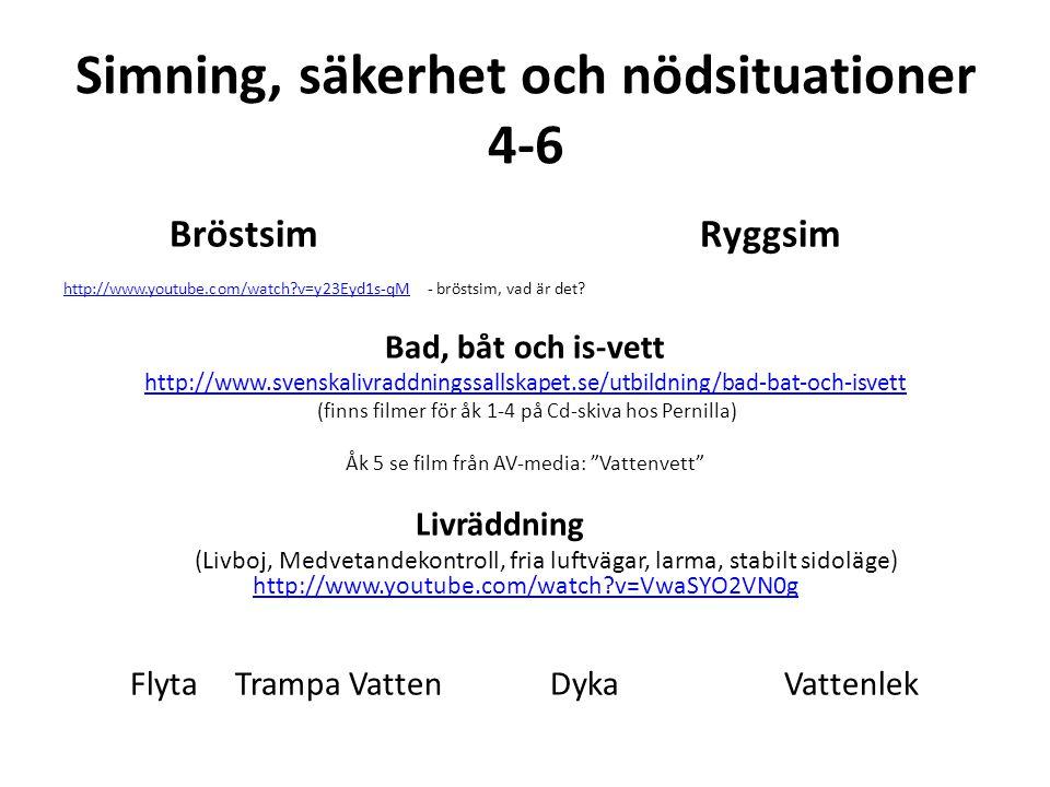 Simning, säkerhet och nödsituationer 4-6 Bröstsim Ryggsim http://www.youtube.com/watch?v=y23Eyd1s-qMhttp://www.youtube.com/watch?v=y23Eyd1s-qM - bröst