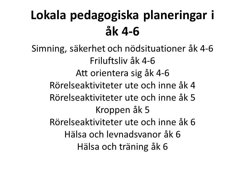 Lokala pedagogiska planeringar i åk 4-6 Simning, säkerhet och nödsituationer åk 4-6 Friluftsliv åk 4-6 Att orientera sig åk 4-6 Rörelseaktiviteter ute