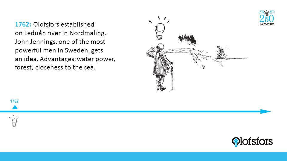1762 1762: Olofsfors established on Leduån river in Nordmaling. John Jennings, one of the most powerful men in Sweden, gets an idea. Advantages: water