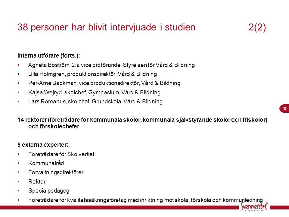 10 38 personer har blivit intervjuade i studien2(2) Interna utförare (forts.): •Agneta Boström, 2:a vice ordförande, Styrelsen för Vård & Bildning •Ul