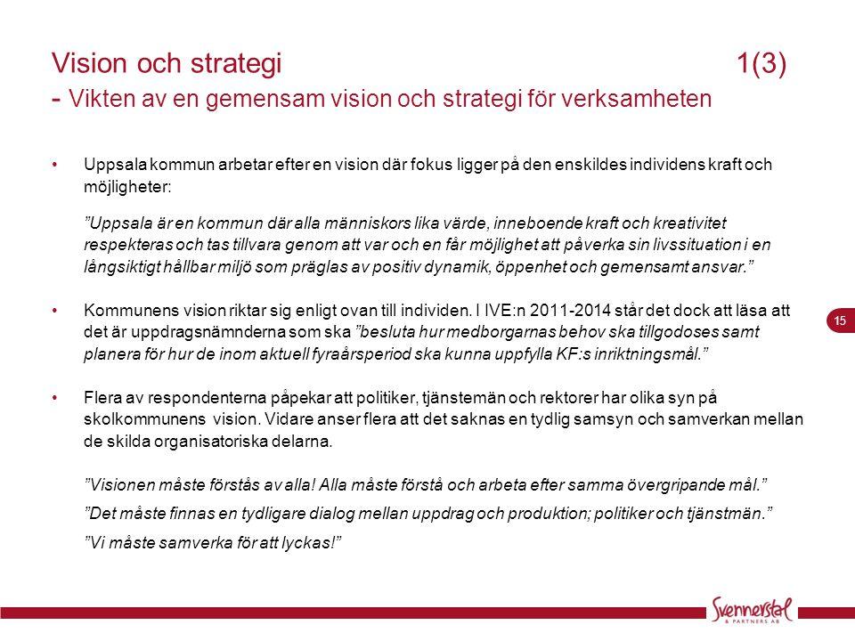 15 Visionoch strategi1(3) - Vikten av en gemensam vision och strategi för verksamheten •Uppsala kommun arbetar efter en vision där fokus ligger på den