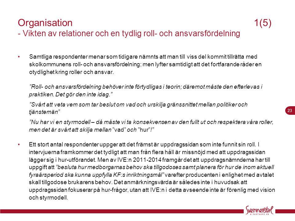 23 Organisation 1(5) - Vikten av relationer och en tydlig roll- och ansvarsfördelning •Samtliga respondenter menar som tidigare nämnts att man till vi