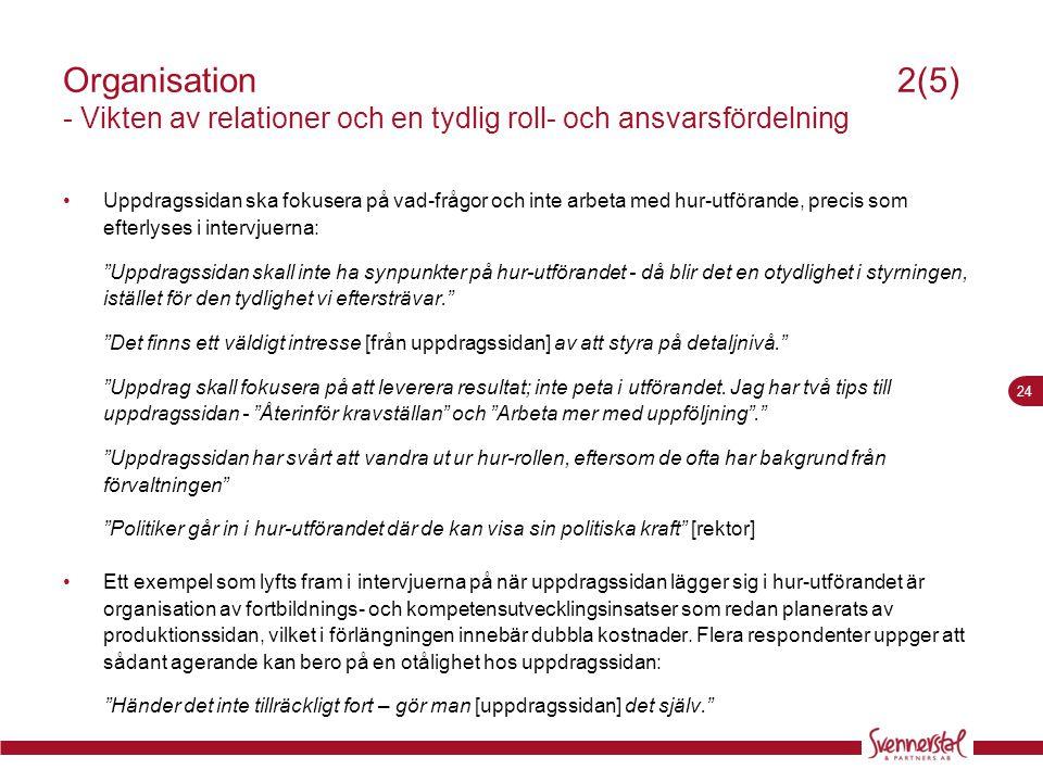 24 Organisation 2(5) - Vikten av relationer och en tydlig roll- och ansvarsfördelning •Uppdragssidan ska fokusera på vad-frågor och inte arbeta med hu